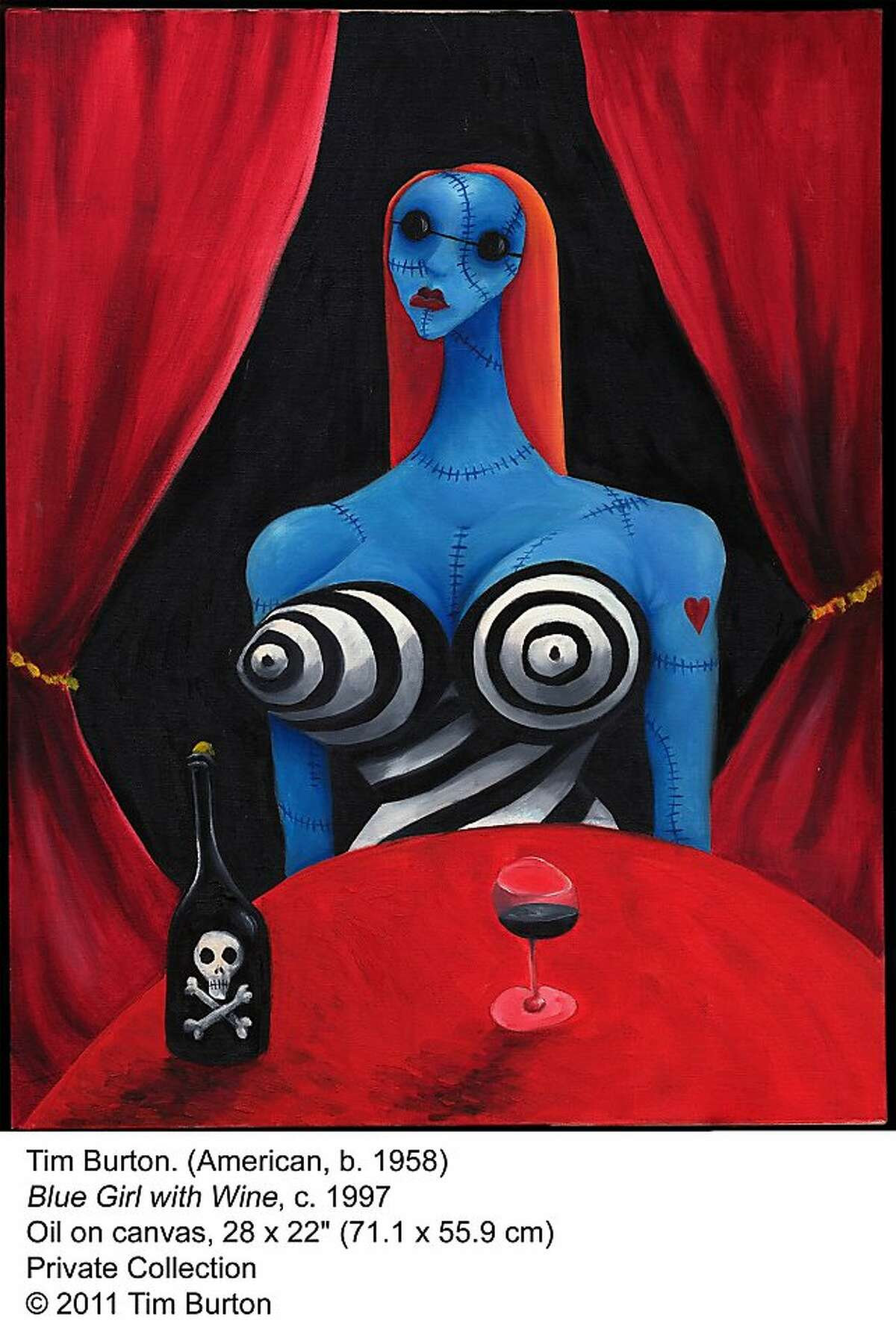 Tim Burton's Blue Girl With Wine is on display with other works by the artist/filmmaker at the Los Angeles County Museum of Art.