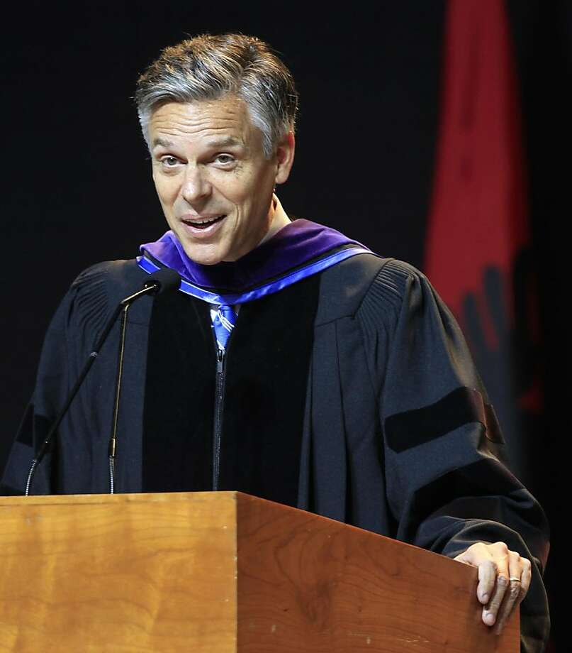 Possible 2012 presidential hopeful, former Republican Gov. Jon Huntsman, Jr., of Utah gives his commencement  address to more than 1,000 students at Southern New Hampshire University, Saturday, May 21, 2011 in Manchester, N.H. Photo: Jim Cole, AP