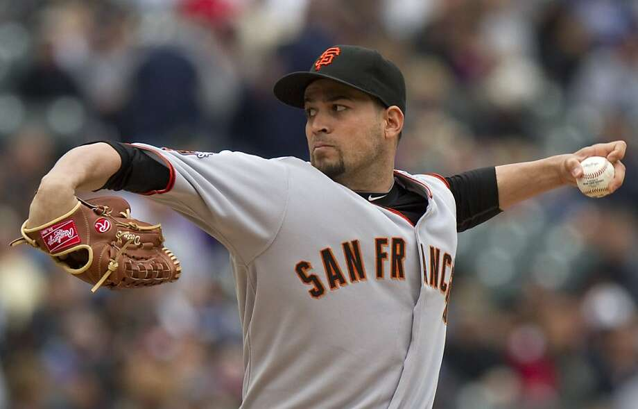 San Francisco Giants starting pitcher Jonathan Sanchez throws during the first inning of a baseball game against the Colorado Rockies, Tuesday, May 17, 2011, in Denver. Photo: Barry Gutierrez, AP