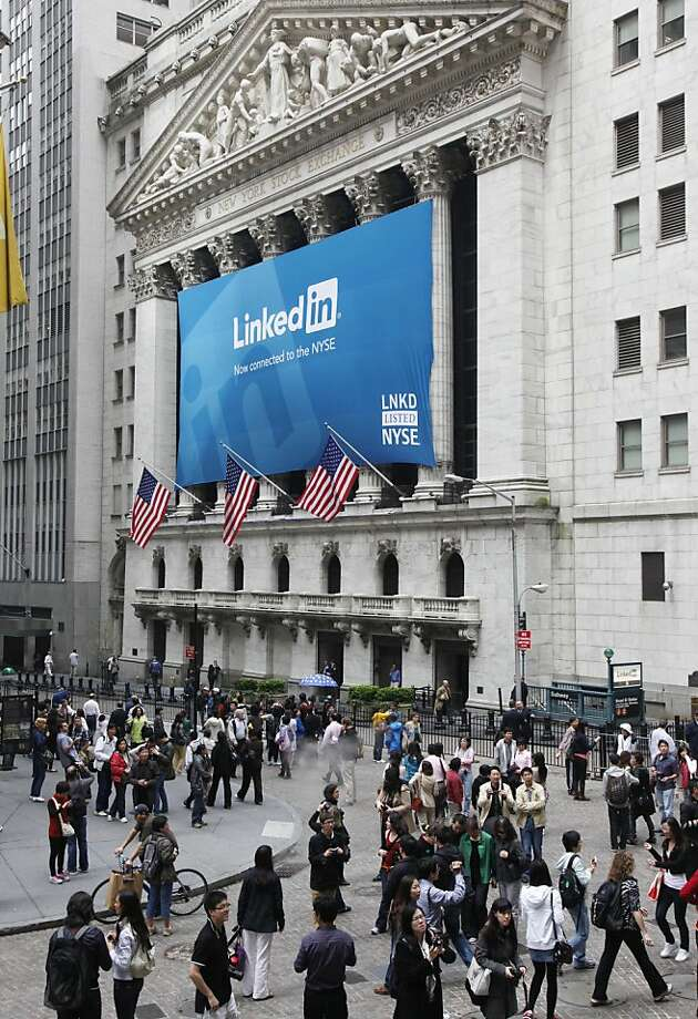 A banner for LinkedIn hangs on the front of the New York Stock Exchange, Thursday, May 19, 2011 in New York. LinkedIn, based in Mountain View, Calif., is an internet-based social networking rolodex for business people. Photo: Mark Lennihan, AP