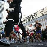 Runners begin the race at 7 AM on Howard street. The 100th annual Bay To Breakers took place on Sunday, May 15, 2011.