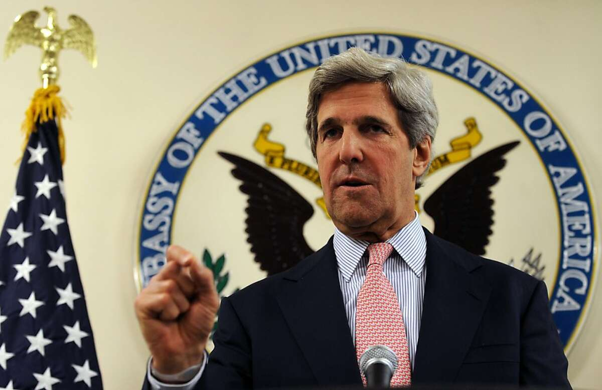 US Senator John Kerry gives a press conference at the US embassy in Kabul on May 15, 2011. Influential US Senator John Kerry met Afghan President Hamid Karzai in Kabul late on May 14, the president's office said, ahead of Kerry's visit to Pakistan after the killing of Osama bin Laden.