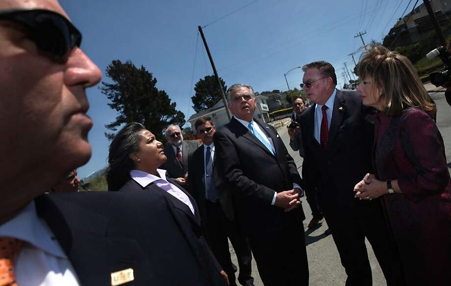 Pipeline and Hazardous Materials Safety Administration Administrator Cynthia Quarterman (l to r), Transportation Secretary Ray LaHood, San Bruno Mayor Jim Ruane and U.S. Rep. Jackie Speier talk as they tour the San Bruno rupture site at Earl Avenue and Glenview Drive in San Bruno, Calif., Thursday, May 19, 2011. Photo: Lea Suzuki