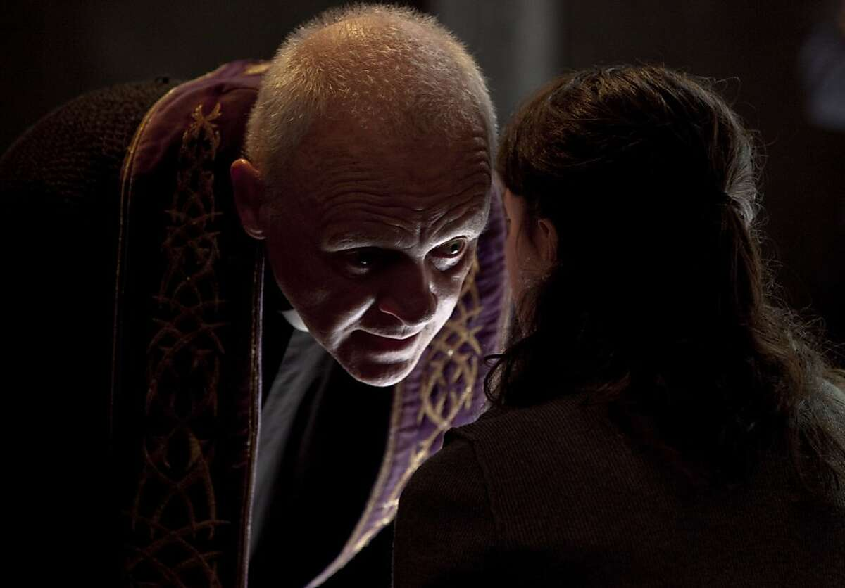 """(L-r) ANTHONY HOPKINS as Father Lucas and MARTA GASTINI as Rosaria in New Line Cinema?•s psychological thriller ?'THE RITE,?"""" a Warner Bros. Pictures release."""