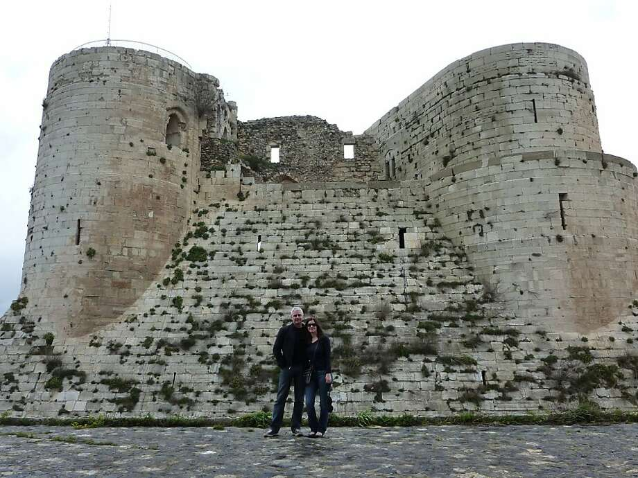 Jake Barlow and Clarice Corell at Krak des Chevaliers in Syria. Photo: Courtesy Of Clarice Corell