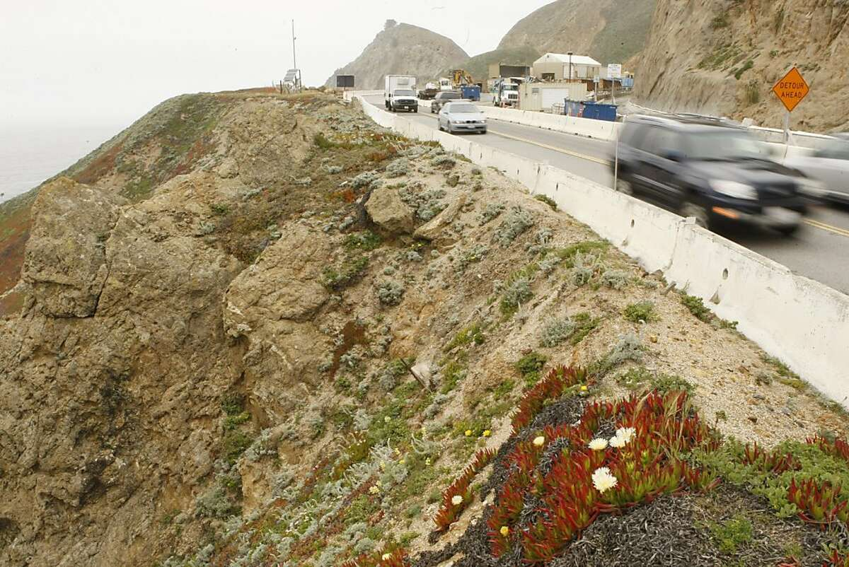 Cars rush through the Devil's Slide Area of highway 1 on Thursday, May 19, 2011. This area is one of 57,000 locations in California that is susceptible to landslides.
