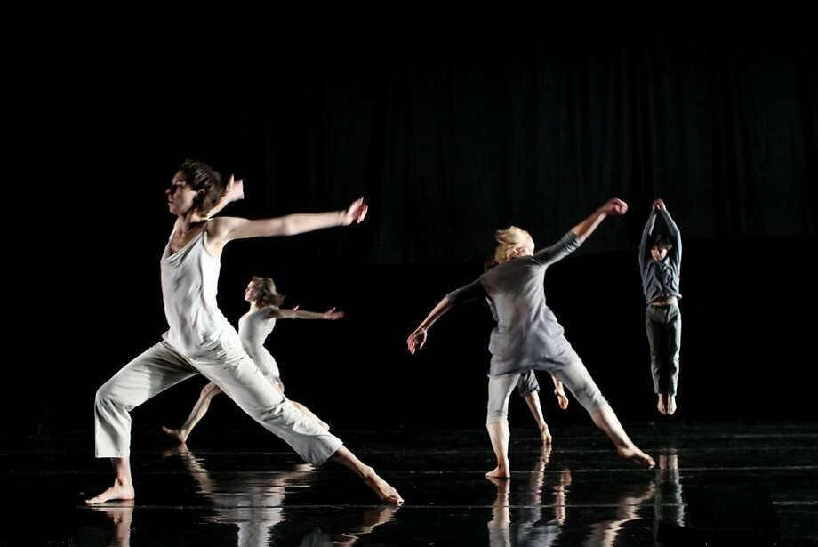 Photo credit: Julie Lemberger  Caption: (L to R) Julia Burrer, Erin Owen, Natalie Desch and Eddie Taketa in Doug Varone and Dancers? Chapters From a Broken Novel at YBCA May 21 and 22. Photo:  Julie Lemberger