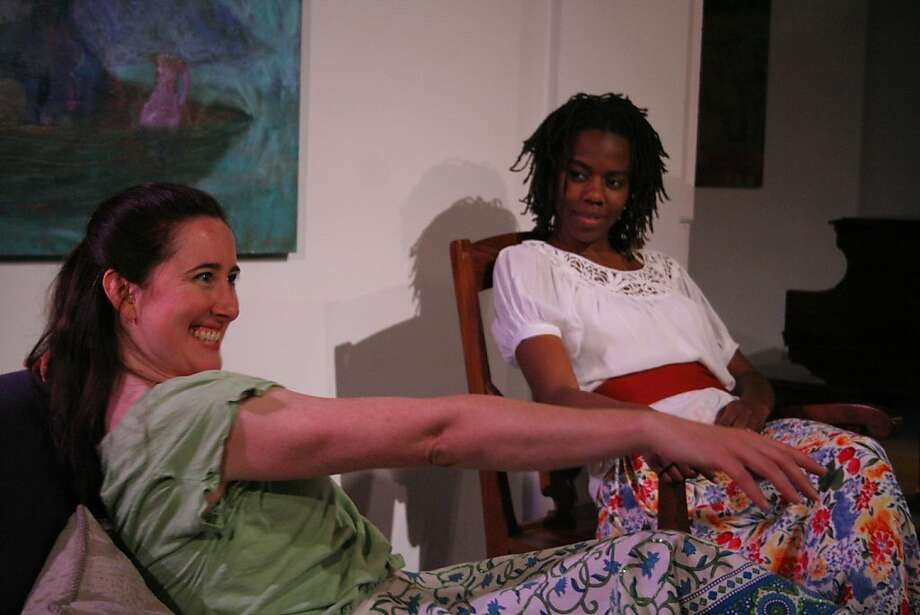 """Sofia (Jeanette Harrison, left), living under house arrest in Cuba, daydreams about the man next door to the amusement of her sister Maria Celia (Dawn Scott) in Nilo Cruz's """"Two Sisters and a Piano"""" at AlterTheater Photo: Selina G Young"""