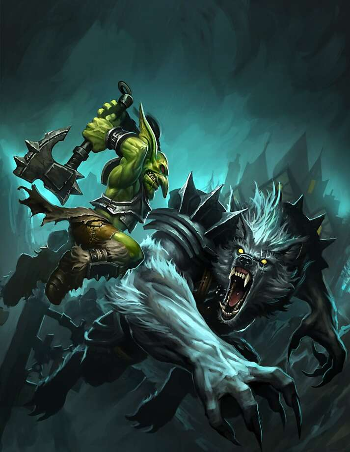 A goblin and a worgen battling it out to become a champion of Azeroth in this concept art from World of Warcraft: Cataclysm. Photo: Blizzard Entertainment