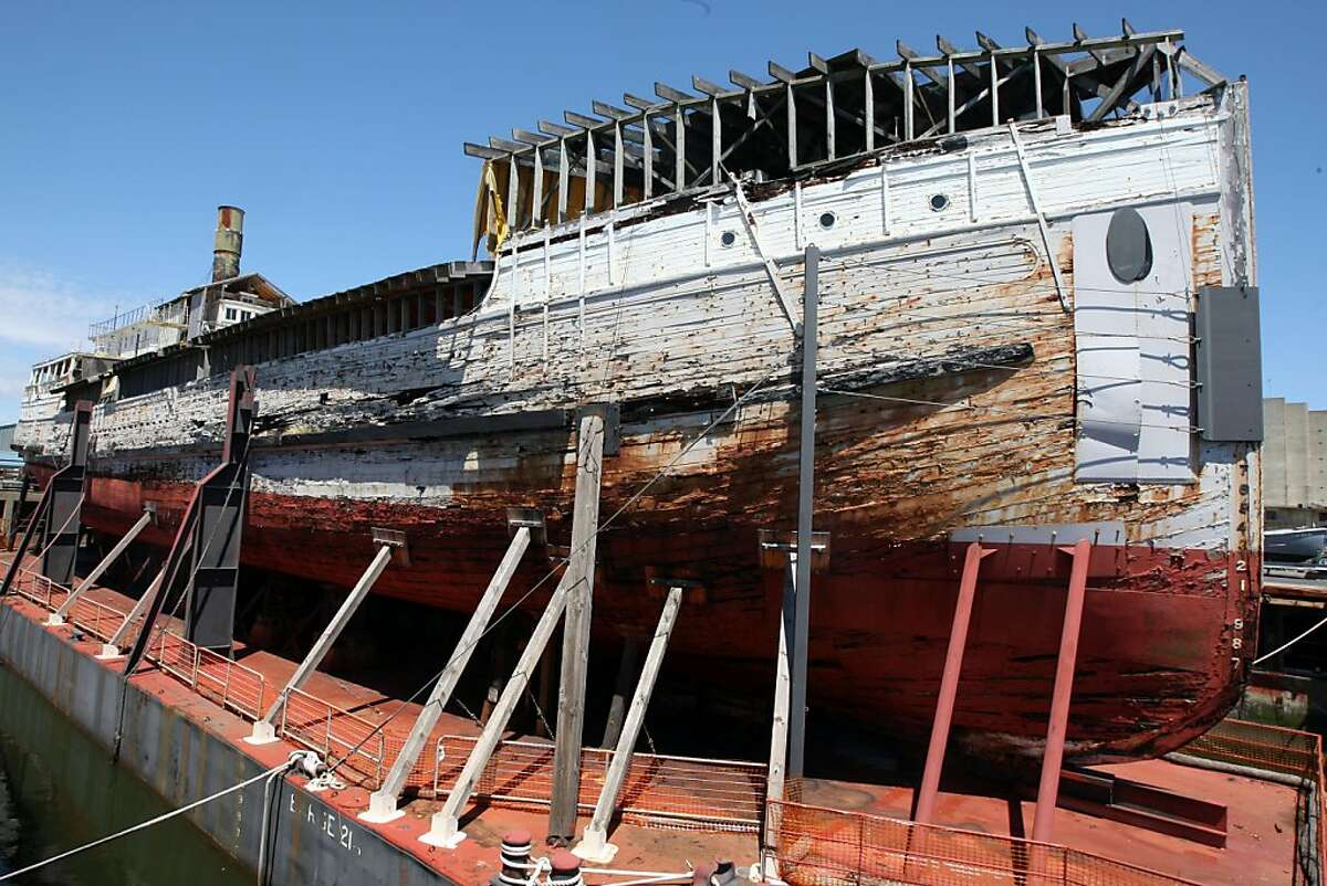The SS Wapama rest on a barge in Richmond harbor, its the last steam lumber schooner in the world, but is so rotten that the national park service plans to dismantle it, even though it is a National Historic landmark. Wednesday, May 11, 2011.