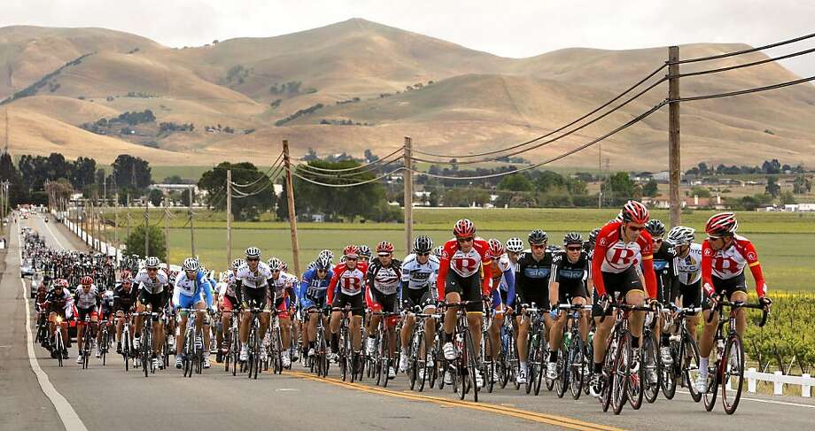 The peloton very early in the race as they cruise along Tesla Road  through the Livermore Valley during the Amgen Tour of California bicycle race, featuring the world's top riders, at stage four of the race beginning in Livermore, Ca. on Wednesday May 18, 2011. Photo: Michael Macor, The Chronicle