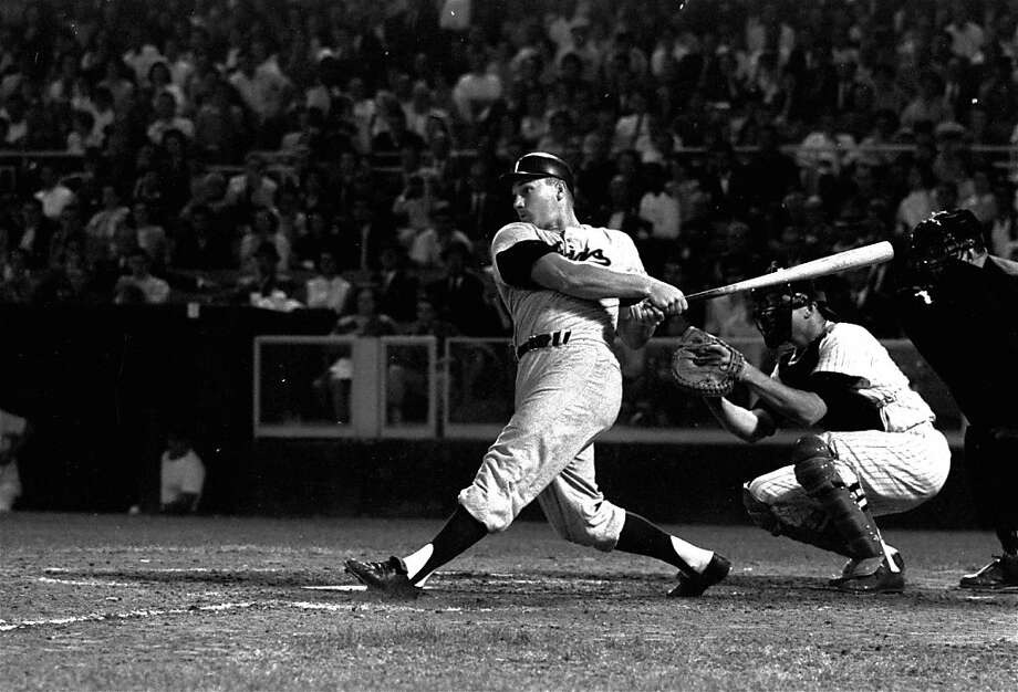 Minnesota Twins' outfielder Harmon Killebrew connects for a double in the third inning against the Washington Senators at the  stadium in D.C., May 22, 1962. Photo: Bob Schultz, AP