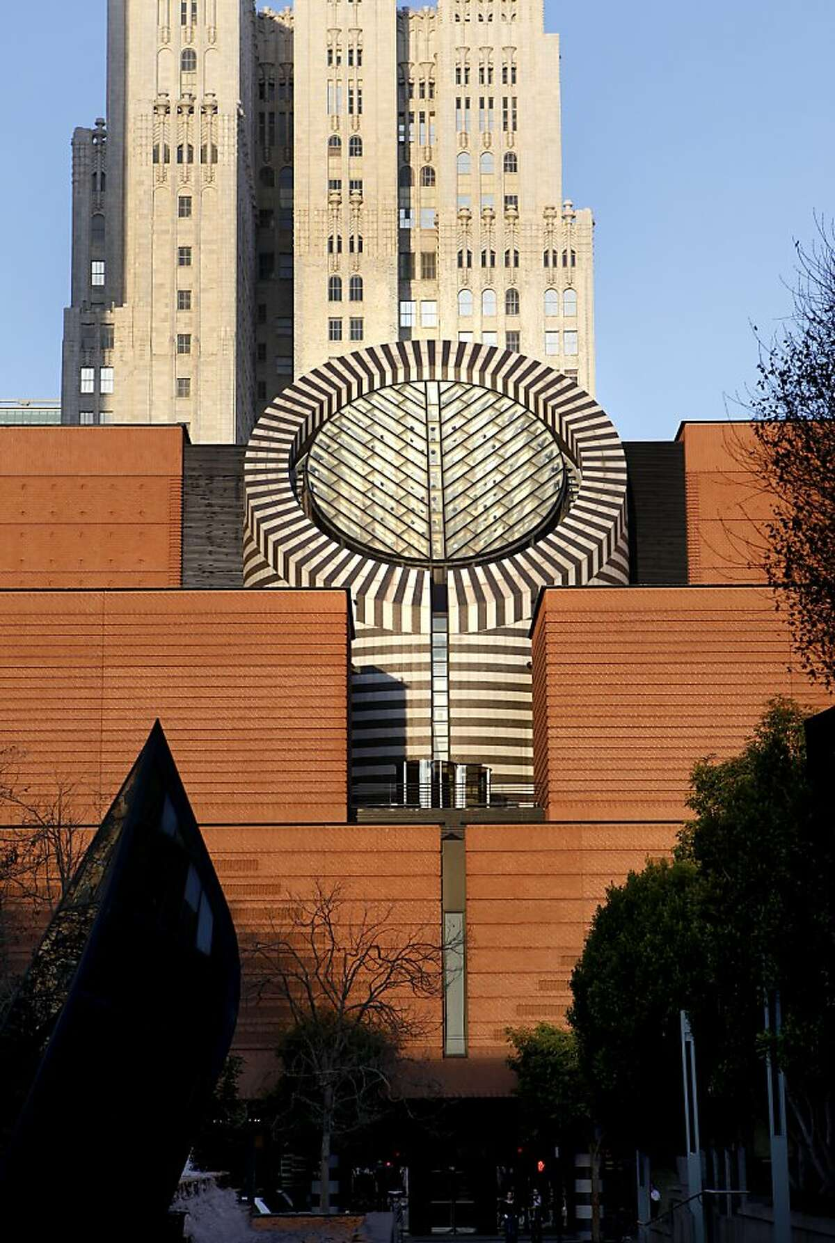 An exterior view of the Museum of Modern Art in San Francisco photographed from the Yerba Buena Gardens.