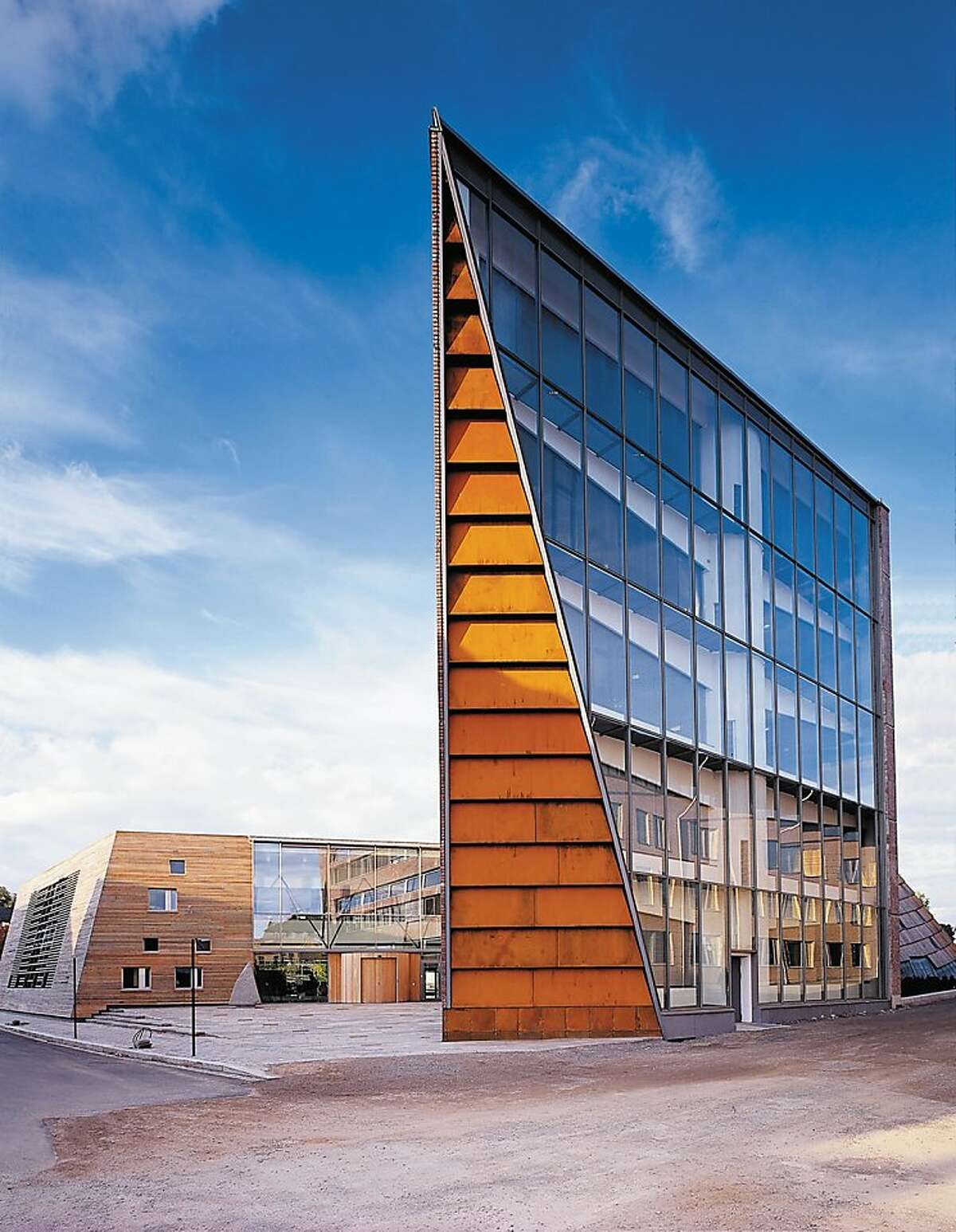 The Town Hall in Hamar, Norway is designed by Snohetta, the architecture firm selected to design the new wing of SFMOMA