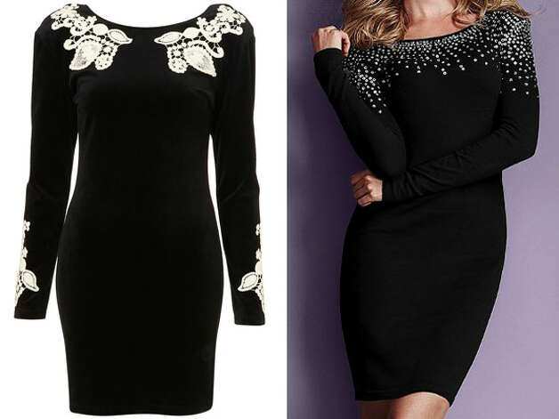 SEXY SWEATER DRESSING: Gina dress by Motel, $76, www.topshop.com, left, and embellished sweater dress, $59.50, victoriassecret.com. Photo: Topshop.com / Victoriassecret.co