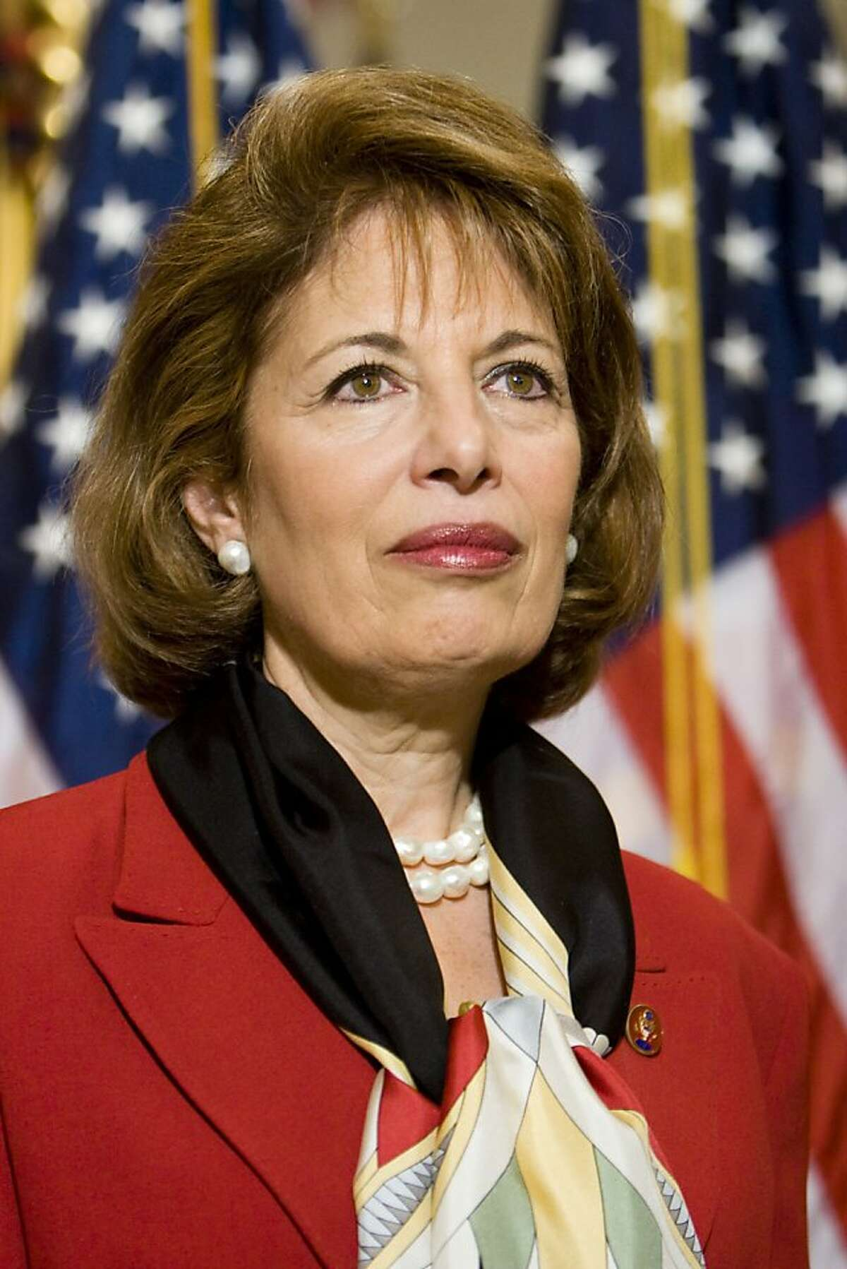 Rep. Jackie Speier, D-Calif. is seen on Capitol Hill in Washington, Thursday, April 10,2008, while participating in a mock swearing in. Rep. Speier was officially sworn in moments before and is taking the place of recently deceased Rep. Tom Lantos. (AP Photo/Brendan Hoffman)