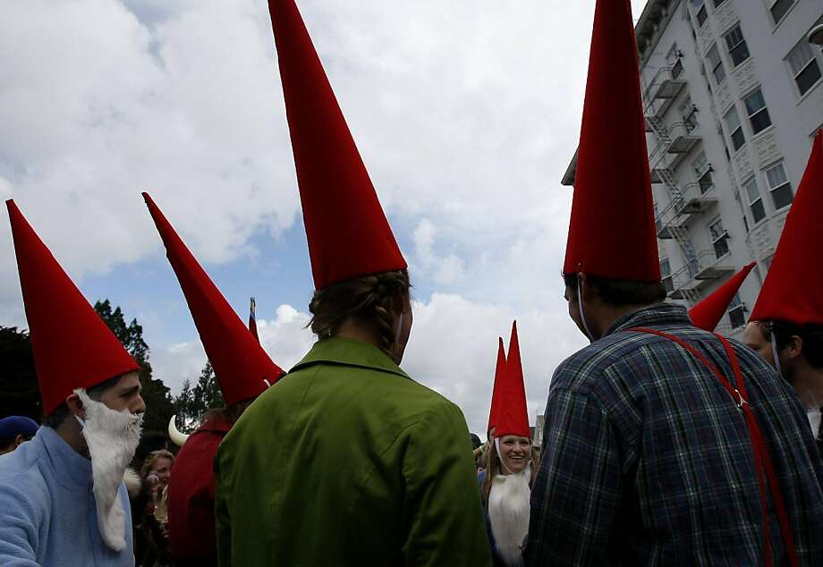 The gnomes were in attendance and gathered near Steiner Street. The 100th running of the Bay to Breakers race in San Francisco, Calif. featured thousands of people and a few new rules to tame past turmoil Sunday May 16, 2011. Photo: Brant Ward, The Chronicle