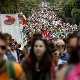 Thousands made their way up Hayes Street, the steepest part of the race. The 100th running of the Bay to Breakers race in San Francisco, Calif. featured thousands of people and a few new rules to tame past turmoil Sunday May 16, 2011.