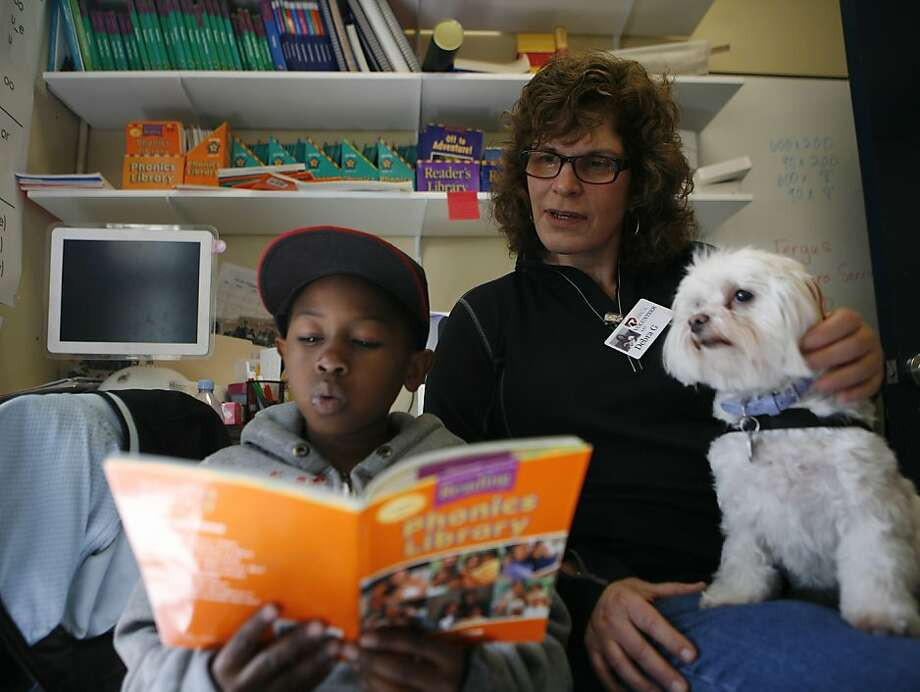 Doug Turner, age 8, a second grader from Junipero Serra Elementary School, reads to a maltese puppy named Sophie from the SPCA with volunteer Debra Greenstein on Wednesday, April 13, 2011. Photo: Anna Vignet, The Chronicle