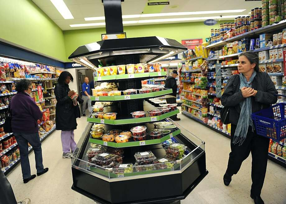 Sushi, sandwiches, fruit and other healthy choices are available at Walgreens at 43rd Avenue in the Outer Richmond on May 16, 2011. This store is one of 30 stores in the Bay Area where the drug chain is rolling out a pilot program stocking fresh fruit, vegetables and other healthy food options. Photo: Susana Bates, Special To The Chronicle