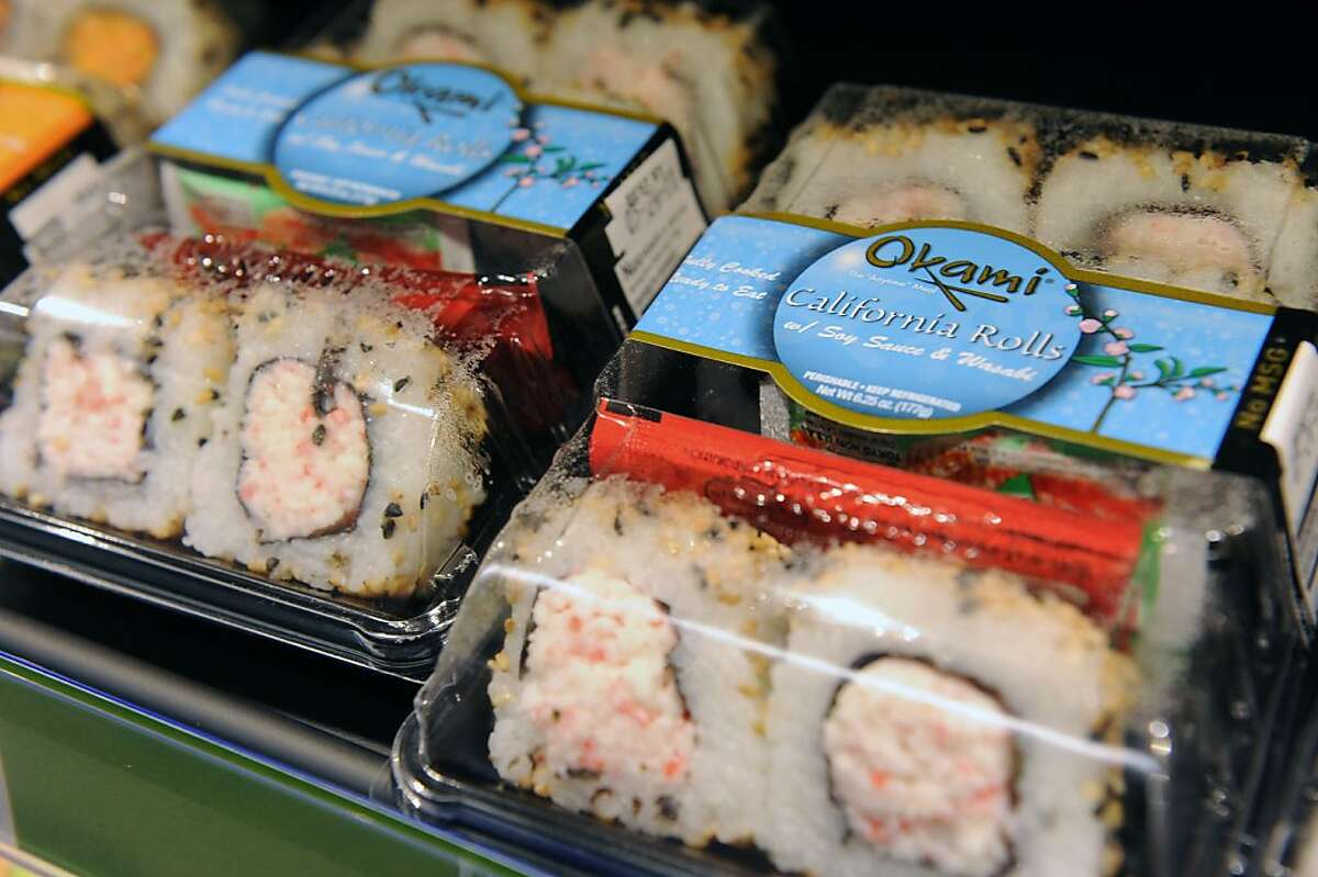 Sushi among other healthy choices is available at Walgreens at 43rd Avenue in the Outer Richmond on May 16, 2011. This store is one of 30 stores in the Bay Area where the drug chain is rolling out a pilot program stocking fresh fruit, vegetables and other healthy food options.