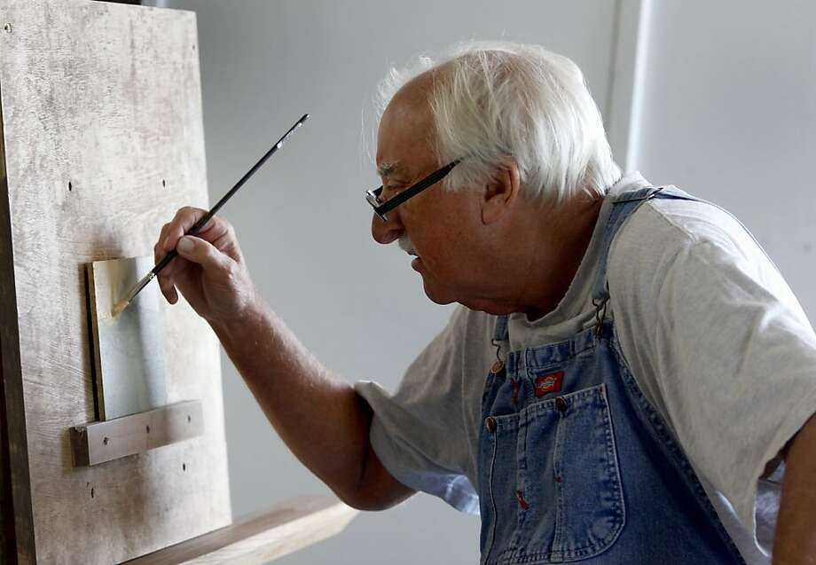 Artist Russell Chatham works on a miniature landscape at his studio. Famous landscape artist Russell Chatham has returned to his Bay Area roots and is painting local scenes at a studio in Marshall, Calif., Tuesday May 3, 2011. Photo: Brant Ward, The Chronicle