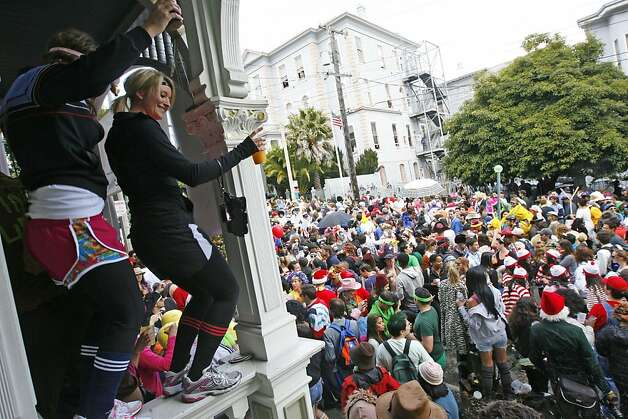 People dance to a DJ playing on song on Hayes Street during the 2011 Bay to Breakers in San Francisco on Sunday, May 15, 2011. Photo: Douglas Zimmerman, Courtesy To The SF Gate