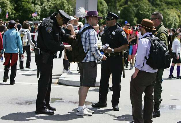 A race participant is checked for alcohol in Golden Gate Park by San Francisco Police Officers during the 2011 Bay to Breakers in San Francisco on Sunday, May 15, 2011. Photo: Douglas Zimmerman, Courtesy To The SF Gate