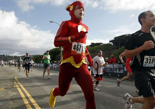 The Flash strides across the finish line during the 100th annual Bay to Breakers 12K in San Francisco, Calif., on Sunday, May 15, 2011. Photo: Thomas Levinson, The Chronicle
