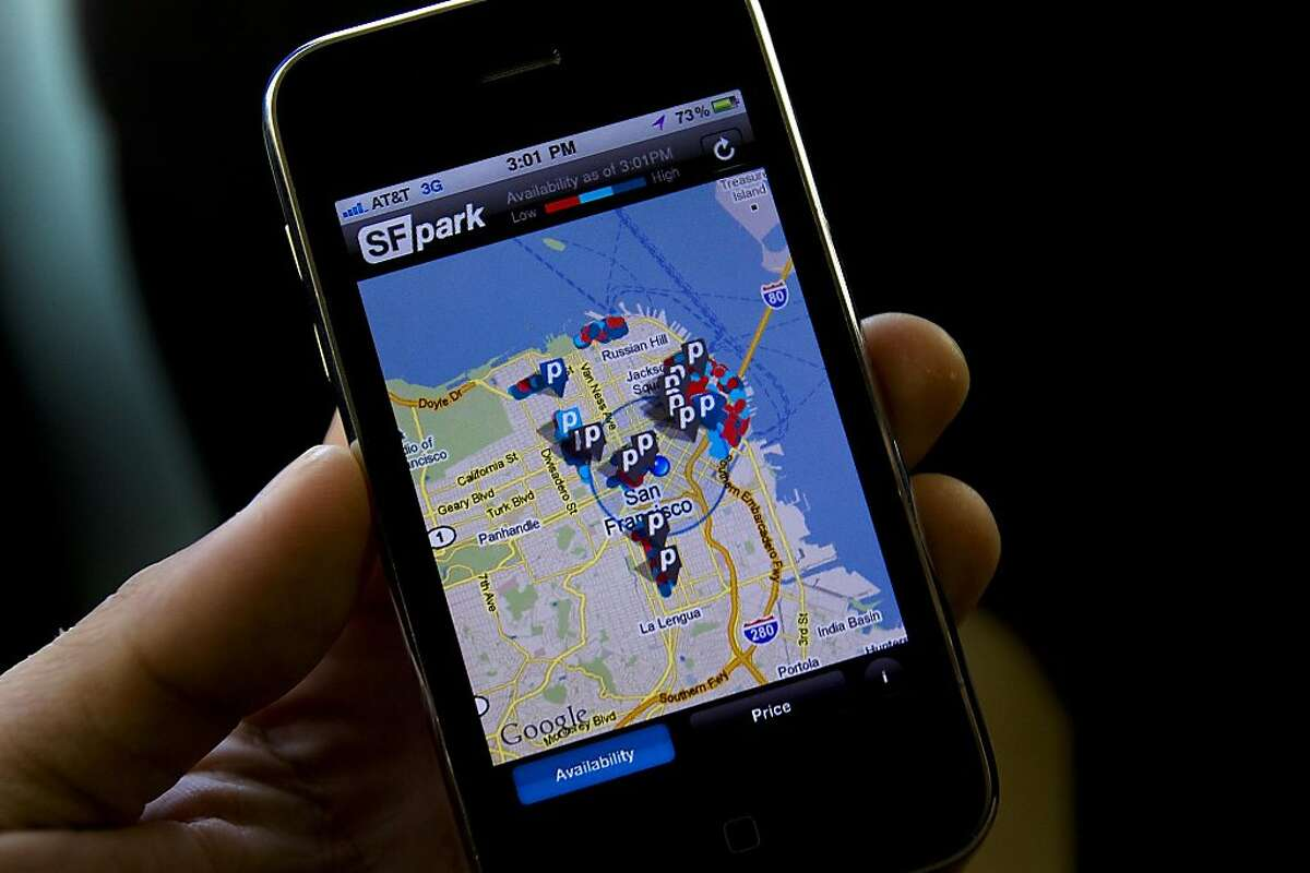 A screen capture of the San Francisco Municipal Agency iPhone parking app SFpark in San Francisco, Calif. on Thursday, May 12, 2011. The $20 million federally-funded project, a first of its kind in the world, will allow users to check real-time parking availability throughout San Francisco.