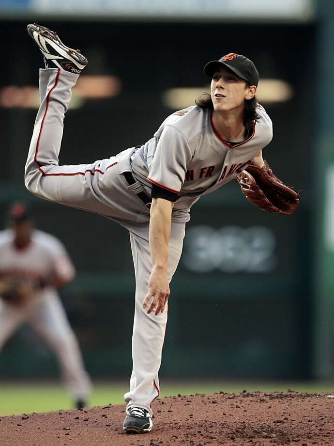 San Francisco Giants pitcher Tim Lincecum pitches against the Houston Astros in the third inning of a baseball game in Houston on Monday, April 5, 2010. Photo: Bob Levey, AP