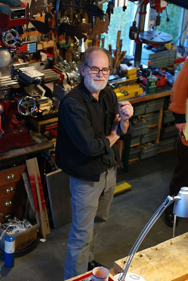 """Musical inventor Trimpin, creator of """"The Gurs Zyklus,"""" in his Seattle studio Photo: Matthew Campbell"""