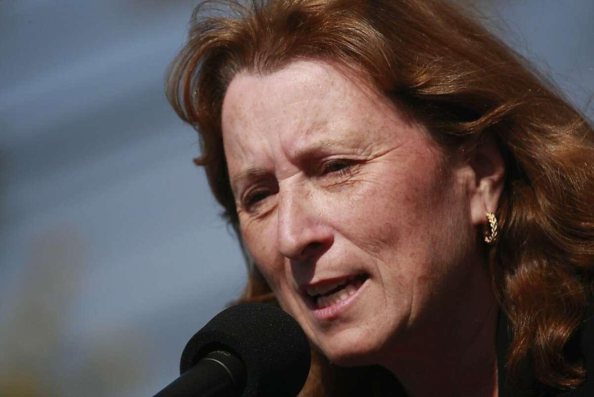 Senator Ellen Corbett spoke at the rally outside the UAW offices in Fremont, Calif. on Thursday, August 20, 2009.