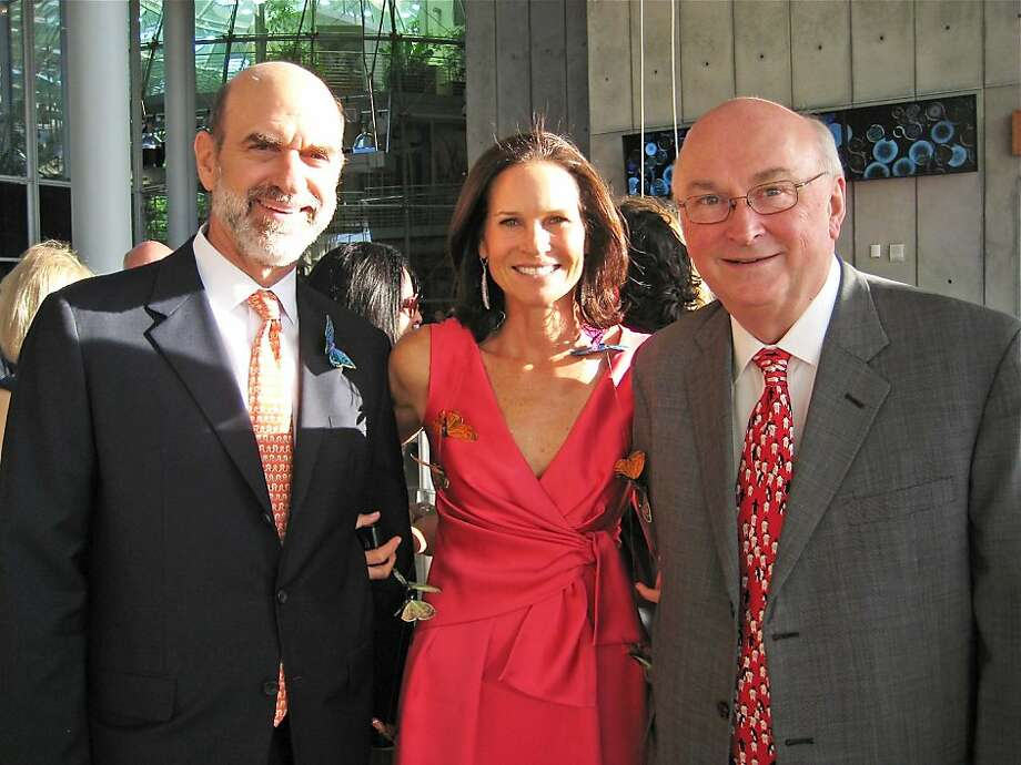 Bob Fisher (left) with his wife, Big Bang Gala co-chair and CA Academy of Sciences Board member Randi Fisher and Academy Director Greg Farrington. May 2011. By Catherine Bigelow. Photo: Catherine Bigelow, Special To The Chronicle