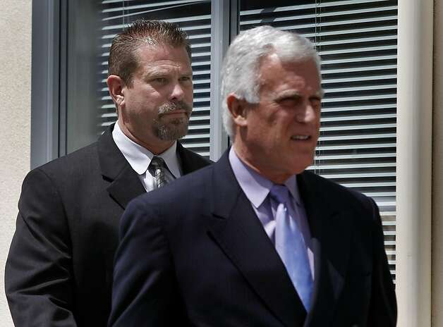 Former state drug agent Norman Wielsch (left) follows his attorney Michael Cardoza into the Contra Costa County Superior Court for a hearing in Walnut Creek, Calif. on Thursday, April 21, 2011. Wielsch is accused of stealing drugs from evidence lockers and handing them off to fellow defendant Christopher Butler, who then illegally resold them. Photo: Paul Chinn, The Chronicle
