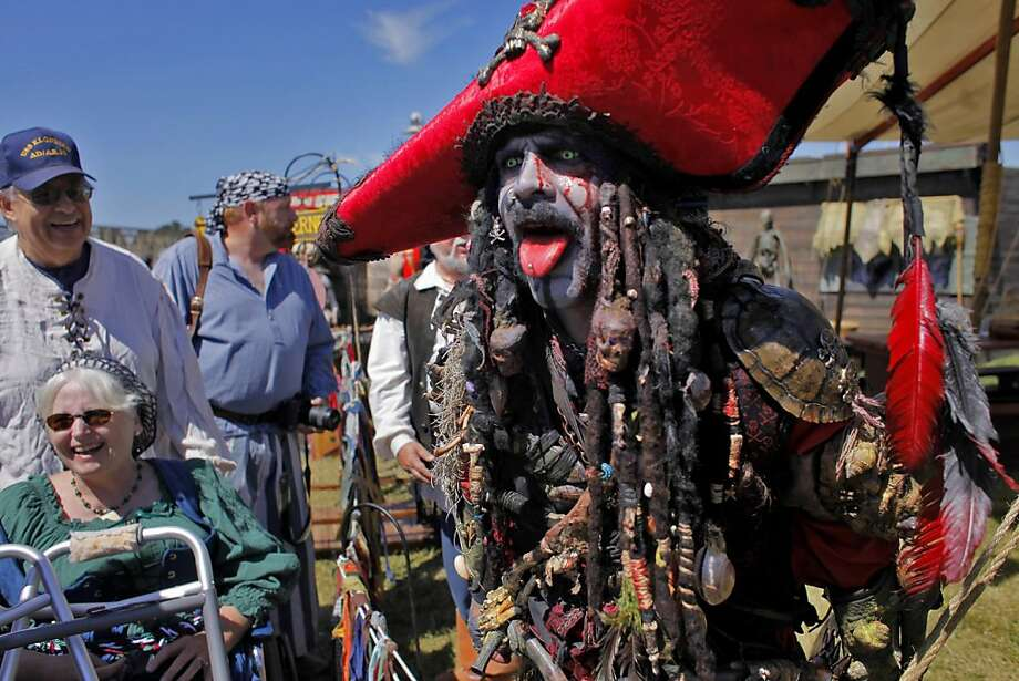 Brian Fields also known as the Boogie Man of the Pirates of Emerson tries to scare people as they attend  the second annual Northern California Pirate Festival, Sunday June 20, 2010 in Vallejo, Calif. The group Pirates of Emerson are from Pleasanton, California. Photo: Lacy Atkins, The Chronicle