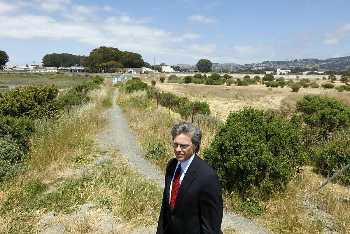 Richmond City Manager Bill Lindsay stands next to the Bay Trail and the wet lands that are part of the University of California Field Station in Richmond in 2011. Lindsay is promoting the site in hopes that Lawrence Berkeley Laboratory that needs to expand will relocate some of their research labs to his city.