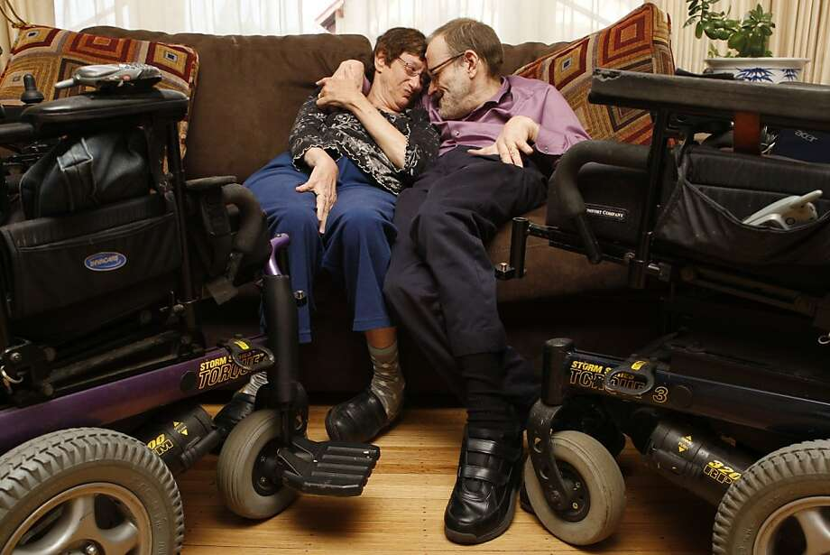 Denise Sherer Jacobson and Neil Jacobson sit on the couch of their Oakland Calif, home on Tuesday, May 10, 2011. The Jacobsons have been married for nearly 28 years or 'forever' according to them. Photo: Alex Washburn, The Chronicle