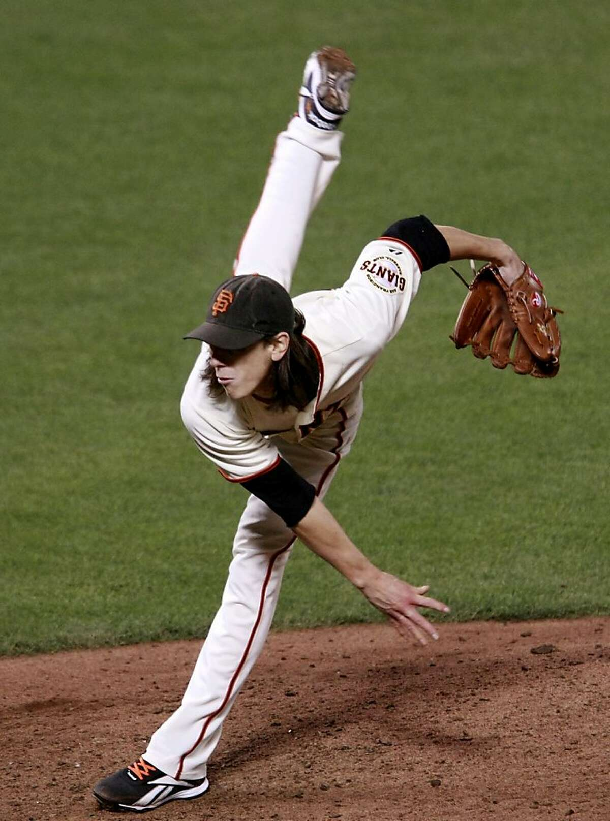 Tim Lincecum in action during the 9th inning. The San Francisco Giants vs the Atlanta Braves Thursday October 7, 2010 at AT&T park in San Francisco, Calif.