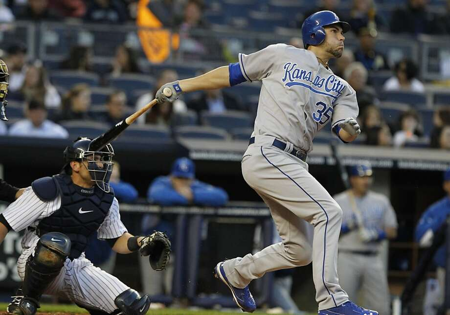 Kansas City Royals' Eric Hosmer (35) follows through on a home run during the second inning of a baseball game against the New York Yankees, Thursday, May 12, 2011, at Yankee Stadium in New York. Photo: Frank Franklin II, AP