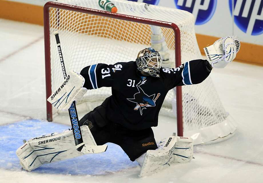 San Jose Sharks goalie Antti Niemi, of Finland, stops a shot attempt against the Detroit Red Wings during the first period in Game 5 of an NHL hockey Stanley Cup Western Conference semifinal playoff series in San Jose, Calif., Sunday, May 8, 2011. Photo: Paul Sakuma, AP