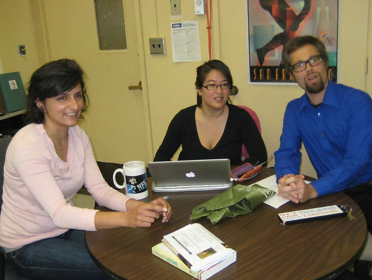 KALW station manager Matt Martin, right, with staff members. The station celebrates its 70th anniversary in 2011.