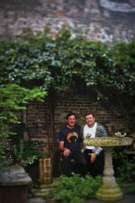 Organic Mechanics, James Pettigrew, left, and Sean Stout, created this garden, seen on Friday, May 6, 2011 in San Francisco, Calif., in their on backyard.