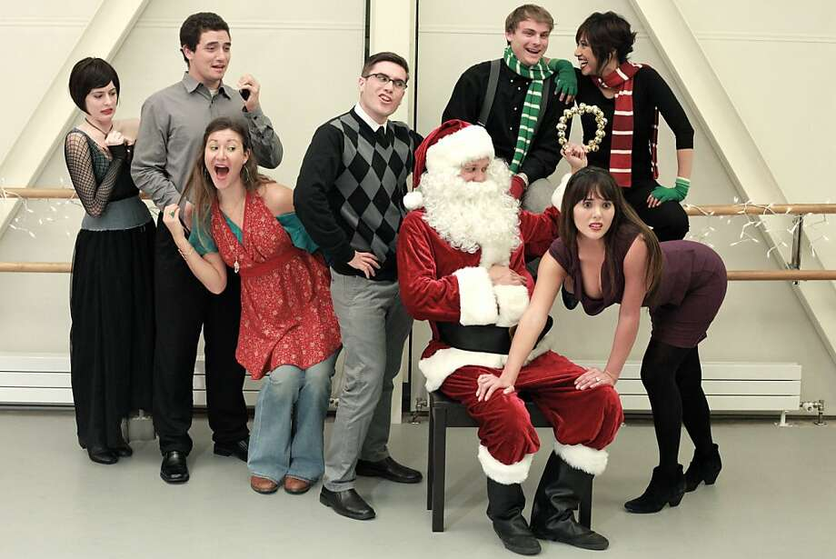 """Cast members Leah Shesky, Shane Rhoades, Emma Shelton, Alex Boyd, Jed Goldstein, Ray Hobbs, Gabrielle Patacsil and Nicole Hammersla prepare to go where the audience's version of the plot  take them in this particular performance of """"FORKING II: A Merry FORKING! Christmas."""" Photo: Chris Alongi & Anne Jones"""