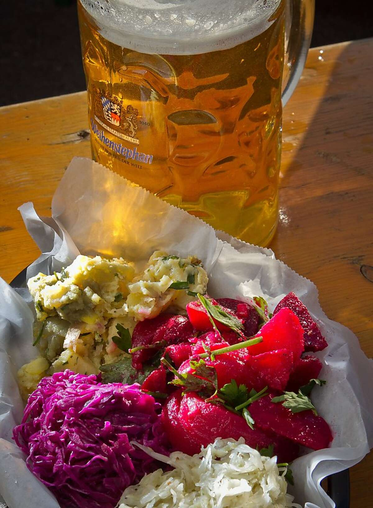 The Salad Plate with a stein of beer at the Biergarten Restaurant in San Francisco, Calif., is seen on Sunday, December 4th, 2011.