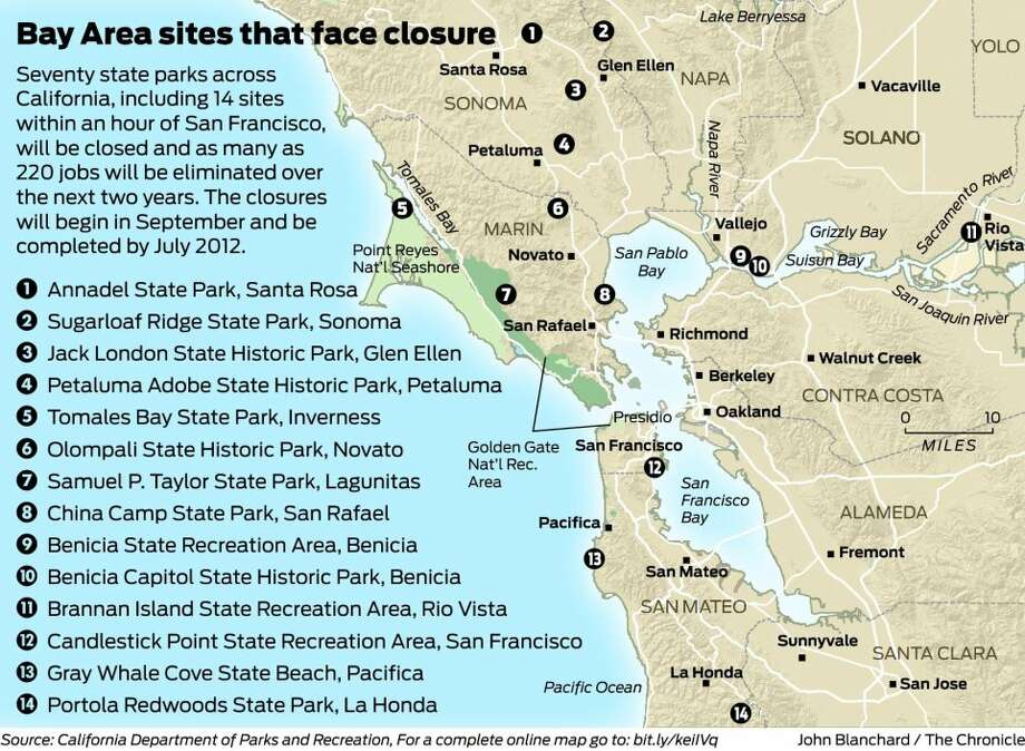 70 California State Parks Fall To Budget Ax Sfgate: Ca State Parks Map At Usa Maps