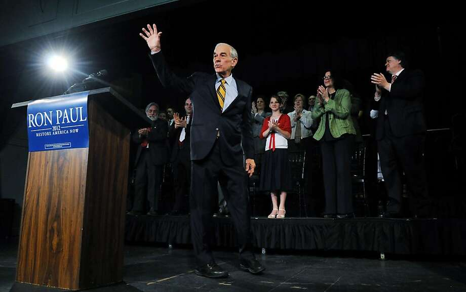EXETER, NH - MAY 13:   U.S. Rep. Ron Paul, (R-TX) waves after he announced his candidacy for U.S. president May 13, 2011 at Exeter Town Hall in Exeter, New Hampshire. Paul is the second republican this week to announce his candidacy, with fellow republican Newt Gingrich also announcing earlier in the week. Photo: Darren McCollester, Getty Images