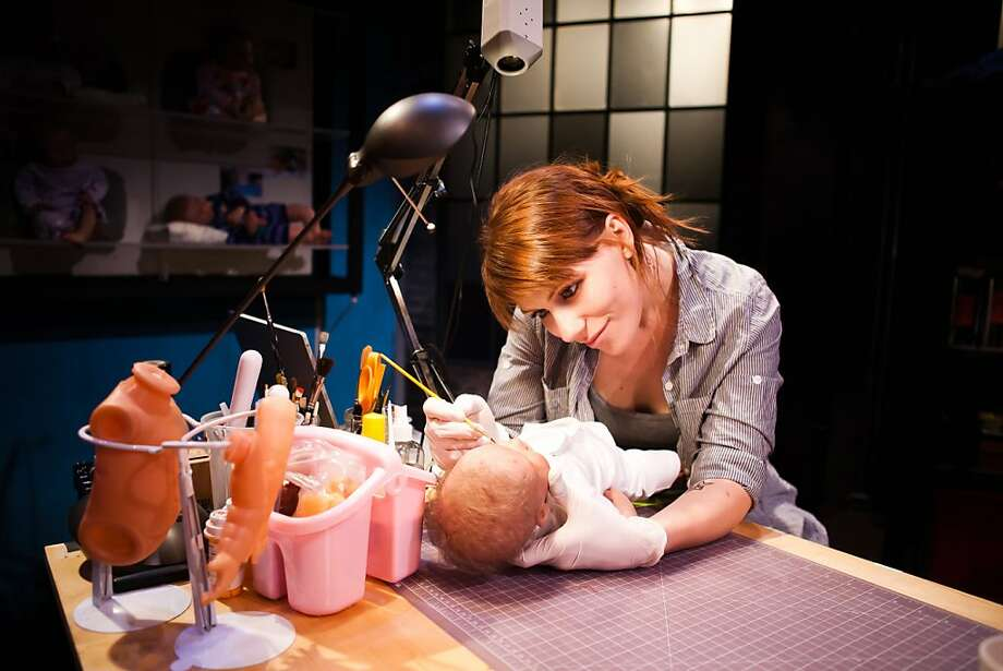 """Doll maker Kelly (Lauren English) works on Baby Eva for a client in SF Playhouse's world premiere of Zayd Dohrn's """"Reborning"""" Photo: Jessica Palopoli"""
