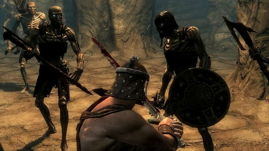 "A screenshot of ""Elder Scrolls V: Skyrim, "" in an undated handout photo. In Skyrim, developed by Bethesda Game Studios for Windows, Xbox 360 and PlayStation 3, you are set loose on a vast fantasy continent populated by thousands of software-controlled monsters and characters. Photo: Bethesda Softworks"