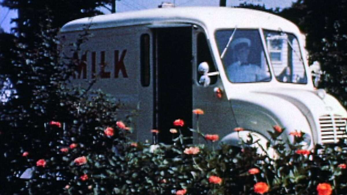 Archival shot of a milk delivery truck used in,